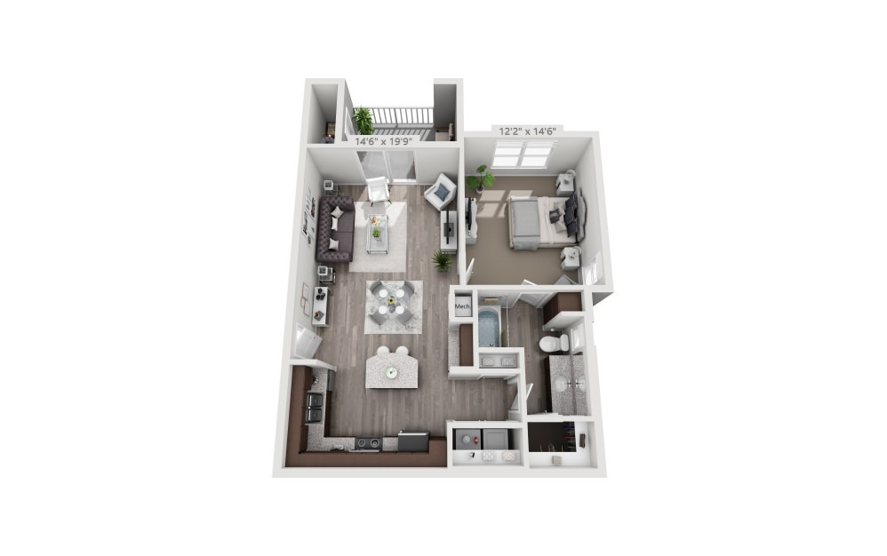 A2 - 1 bedroom floorplan layout with 1 bath and 791 square feet.