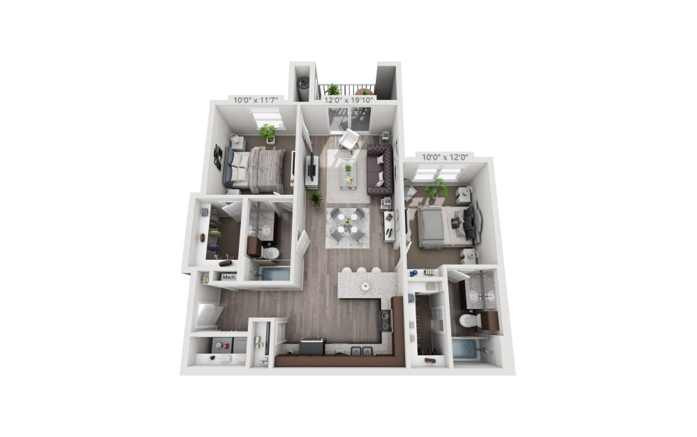 B1 - 2 bedroom floorplan layout with 2 baths and 962 square feet.