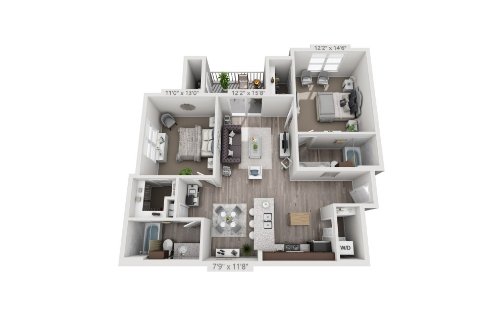 B2 - 2 bedroom floorplan layout with 2 baths and 1050 square feet.