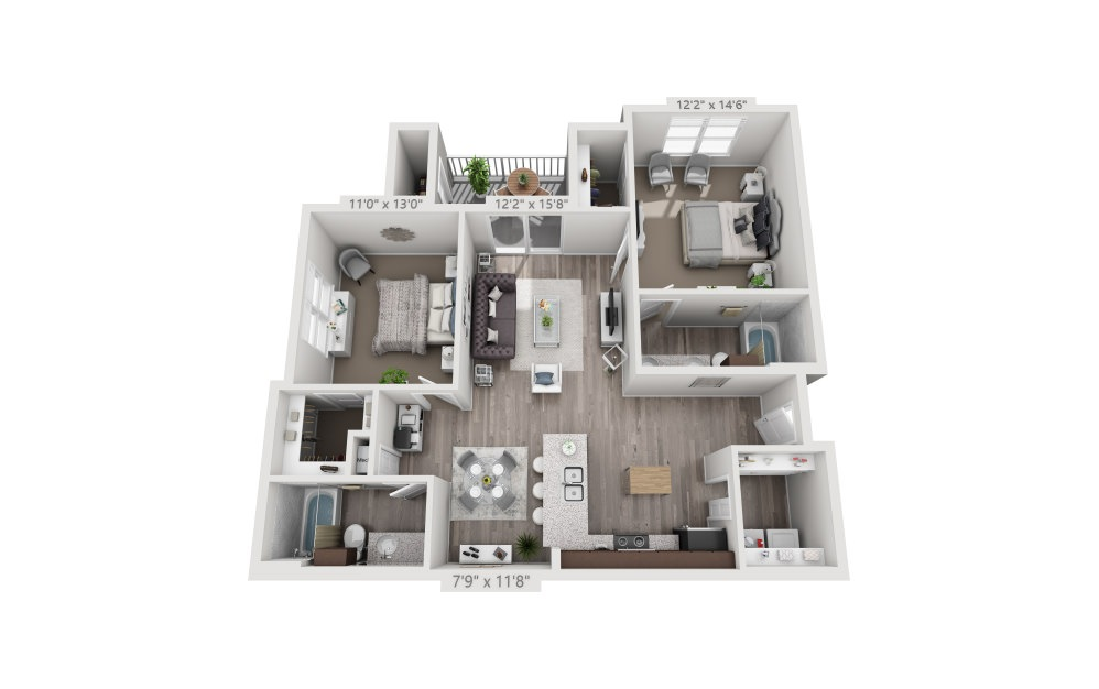 B3 - 2 bedroom floorplan layout with 2 baths and 1079 square feet.